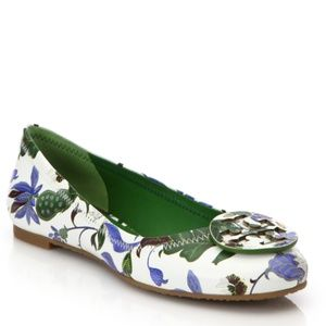 Tory Burch Reva Floral Leather Green Flat